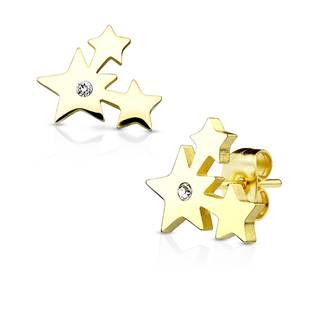 Zlacení ocelové náušnice - hvězdičky