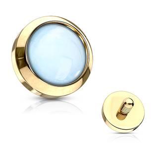 Zlacený microdermal - ozdobná část - průměr 4 mm, barva modrá