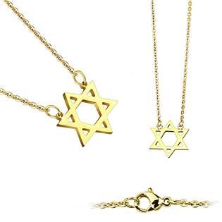 Zlacený ocelový náhrdelník - Davidova hvězda