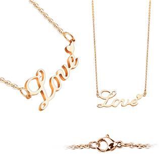 """Zlacený ocelový náhrdelník """"Love"""""""
