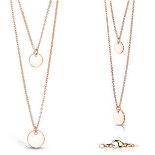 Zlacený ocelový náhrdelník s kulatými přívěsky