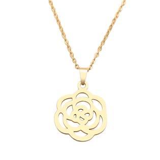 Zlacený ocelový náhrdelník s růžičkou