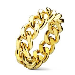 Zlacený ocelový prsten - řetěz