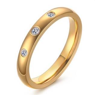 Zlacený ocelový prsten se zirkony, šíře 3 mm, vel. 52