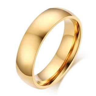 Zlacený ocelový prsten, šíře 6 mm, vel. 62