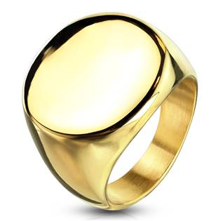 Zlacený pečetní ocelový prsten
