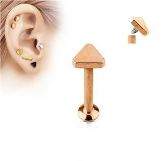 Zlacený piercing do brady - labreta 1,2 x 6 mm, trojúhelník