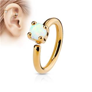 Zlacený piercing do nosu/ucha kruh, opál