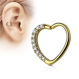 Zlacený piercing do nosu/ucha srdce, čiré kamínky