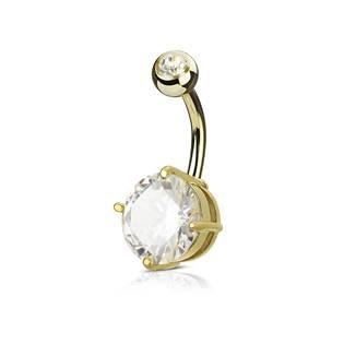 Zlacený piercing do pupíku, čirý kámen 10 mm