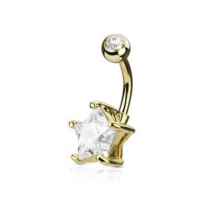 Zlacený piercing do pupíku hvězda, čirý kámen 10 mm