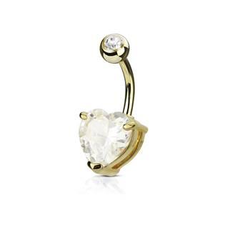 Zlacený piercing do pupíku srdce, čirý kámen 10 mm