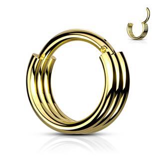 Zlacený piercing kruh segment 1,2 x 8 mm