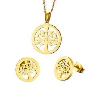 Zlacený set šperků z chirurgické oceli, strom života