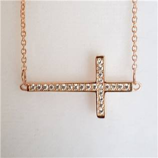 Zlacený stříbrný řetízek s křížkem se zirkony