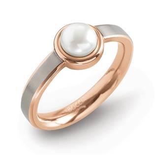 Zlacený titanový prsten s perlou 0137-02