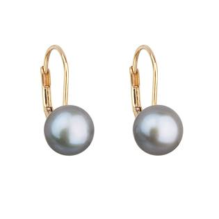 Zlaté 14ti karátové náušnice se šedou říční perlou