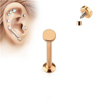 Zlatý piercing do brady - labreta 1,2 x 6 mm, kolečko 3 mm