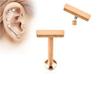 Zlatý piercing do brady - labreta 1,2 x 6 mm, obdélník 2 x 6 mm