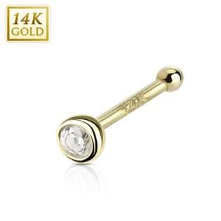 Zlatý piercing do nosu - 2 mm zirkon, Au 585/1000