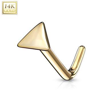 Zlatý piercing do nosu  - triangl, Au 585/1000