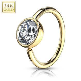 Zlatý piercing do nosu kruh, 0,8 x 8 mm, Au 585/1000