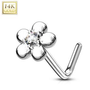 Zlatý piercing do nosu kytička - čirý zirkon, Au 585/1000