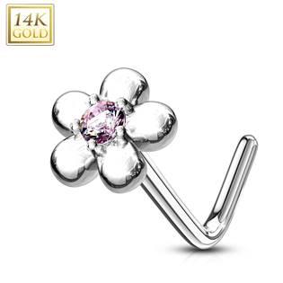 Zlatý piercing do nosu kytička - růžový zirkon, Au 585/1000