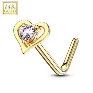 Zlatý piercing do nosu srdíčko - růžový zirkon, Au 585/1000