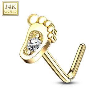 Zlatý piercing do nosu stopa - čirý zirkon, Au 585/1000