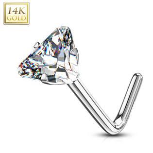 Zlatý piercing do nosu trojúhelník - čirý zirkon, Au 585/1000
