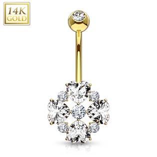 Zlatý piercing do pupíku - kytička, Au 585/1000