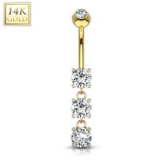 Zlatý piercing do pupíku, čiré zirkony, Au 585/1000
