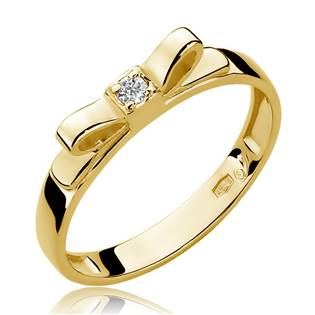 Zlatý prsten mašlička s diamantem