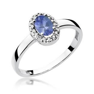 Zlatý prsten s diamanty a tanzanitem