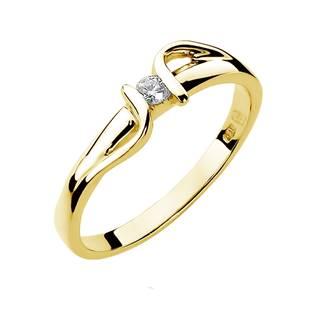 Zlatý zásnubní prsten s diamantem